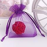 Wuligirl 100 PCS Purple Organza Gift Bags Marbles