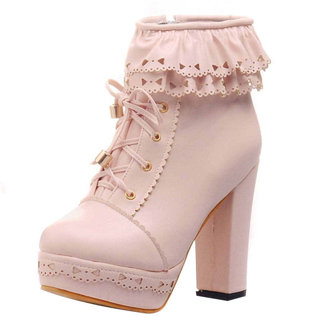 Kauneus Womens Office Party Sweet Lolita Platform Chunky High Heel PU Lace up Ankle Boots Pink