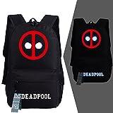 YOURNELO Boy's Cool Marvel Deadpool Canvas School Backpack Bookbag (Black A)