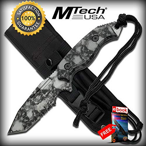 Mtech 8'' Zombie Grey Skull Tanto Hunting SHARP KNIFE with Molle Sheath Fixed Combat Tactical Knife + eBOOK by Moon Knives]()