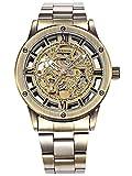 Alienwork Retro Mechanical Automatic Watch Men Women Watches for Boys Ladies Stainless Steel Metal Strap Bronze Brown Analogue Unisex Self-Winding Waterproof Skeleton Sport