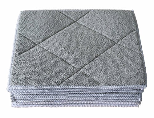Gryeer Bamboo & Microfiber Dish Cloths with Sponge Pad, Soft and Super Absorbent Kitchen Cleaning Cloths, 6 Pack, 8x10 Inch