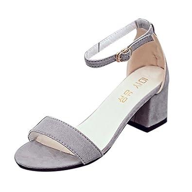 9defe26a99acc Sandales Femmes Talons Ete Sexy Mode Vintage Casual Pas Cher Talon Carre  Chaussures à Talons  Amazon.fr  Chaussures et Sacs