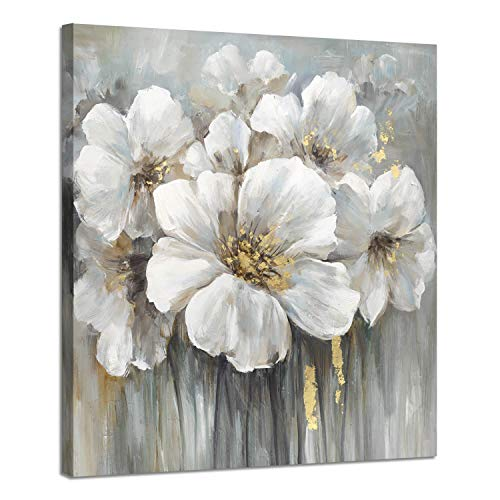 Wall Art Botanical Pictures Painting: White Lily Bouquet of Flowers Oil Painting Floral Artwork Print on Wrapped Canvas for Walls