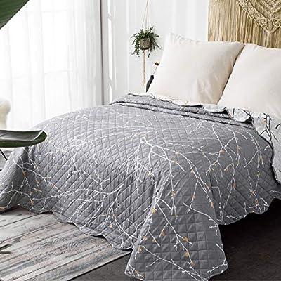 Bedsure Colchas Cama 135 de Verano Blancas/Gris 240x260 cm Estampada - Reversible Lavable de Microfibra Suave y Cómodo - con Moderna Pátrón de Árbol: Amazon.es: Hogar