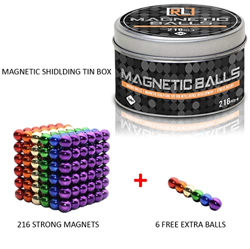 R&L Magnetic Sphere 216 PCS + 6, 5mm Fidget Toy for Education and Intelligent Development (Multi-Color) by R&L (Image #3)