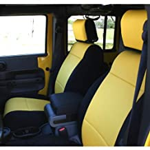 Coverking Custom Fit Seat Cover for Jeep Wrangler JK 2-Door - (Neoprene, Black/Yellow)