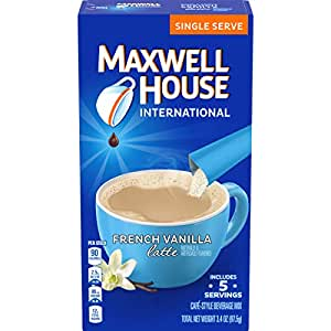 Maxwell House International Cafe French Vanilla Latte Instant Coffee (3.4 oz Boxes, Pack of 8)