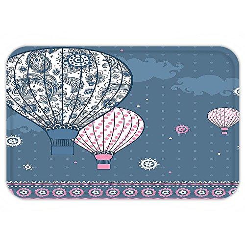 VROSELV Custom Door MatRetro Air Balloonon Polka Dotand Indian Ethnic Paisley OrnamentArt Print Slate Blue Light (Indian Autumn Slate Tile)