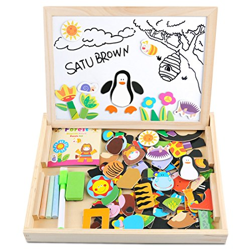 Wooden Toy Magnetic Dry Erase Board Puzzles 100 Pieces Games, Satu Brown Double Face Jigsaw& Drawing Easel Chalkboard Popular Educational Learning Toys (Farm) Christmas Present Ideas 13 Year Old Boy