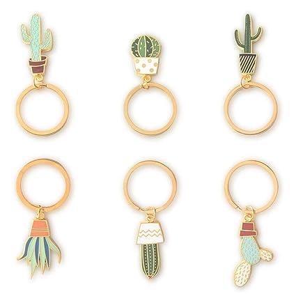 CAOSAN 6 Piezas Llavero de Cactus Keychain para Hombre Mujer ...