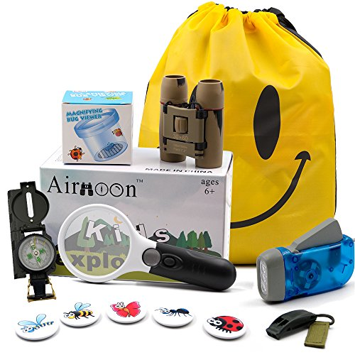 Kid Explorer Kit, Outdoor Adventure Set by Airmoon, Pack of 12, for Explorer Backyard, Famliy Hiking Trip, Camping, Gift Box