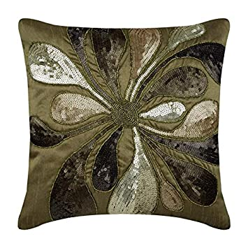 The HomeCentric Luxury Earthy Green Euro Pillow Covers 26×26 inch, Silk European Pillow Covers, Nature Floral, Sequins Embellished, Contemporary Euro Sham Covers – Exotica