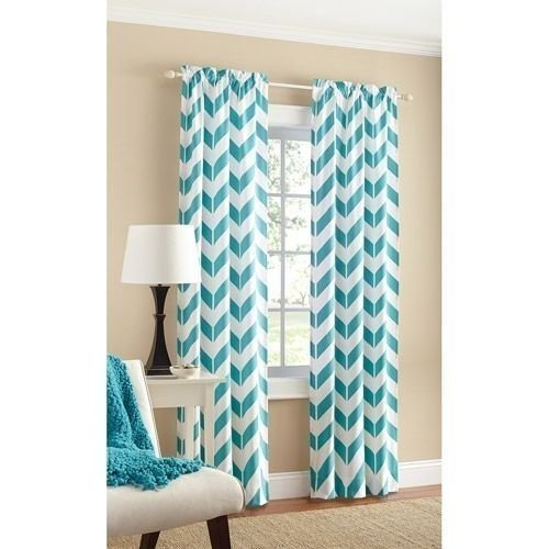 Teal Chevron Panel Pair – Two panels 84 by Mainstays