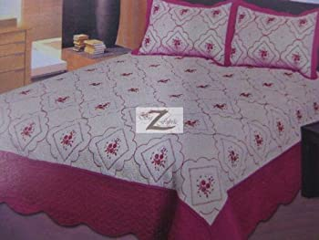 3-PIECE EMBROIDERY QUILT SET KING SIZE - Hot Pink - 100% MICROFIBER NEW
