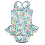 i play.. Baby Girls' 1pc Ruffle Swimsuit with Built-in Reusable Absorbent Swim Diaper, Light Aqua Paradise Flower, 4T