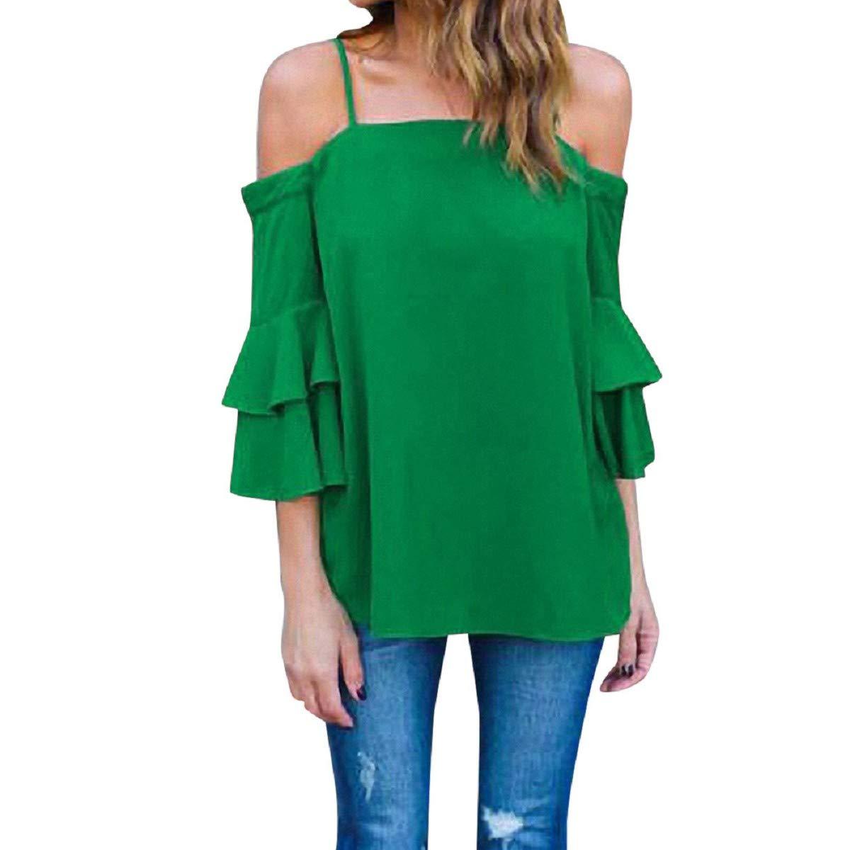 OTINICE Women Chiffon Blouse Off Shoulder Tank Top Ruffle Bell Sleeve Loose Casual Shirts Green