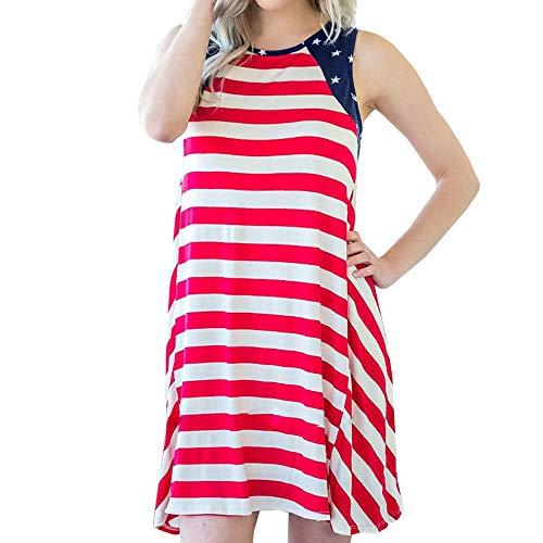 YOcheerful Women Dress American Loose 4th of July Sleeveless T-Shirt Mini Dress Plus Size Dress -