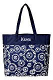 High Fashion Print Tote Bag - Personalization Available (Personalized Riley Navy)