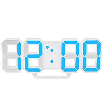 Decdeal - Multifuncional LED Reloj de Pared Digital 12H/24H con Alarma y Snooze, Luminancia Ajustable: Amazon.es: Hogar