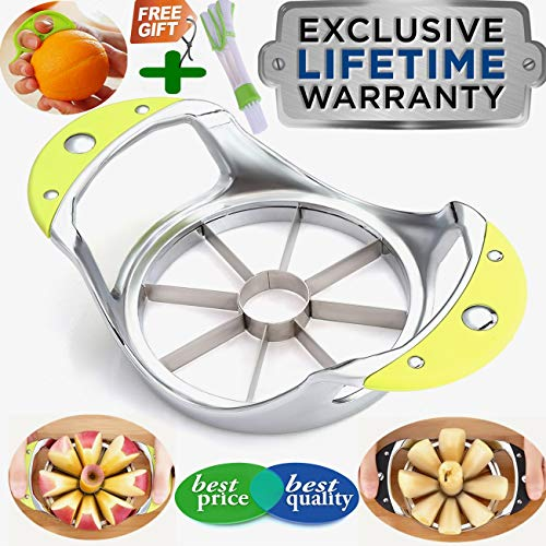 Apple Slicer Corer+Orange Peeler+Cleaning Brush 3-in-1 GIFT BOX, Apple Corer Stainless Steel Ultra-Sharp Apple Cutter Divider Pitter Wedger Core remover Cutter Pear Divider Wedger Metal Decorer Tool