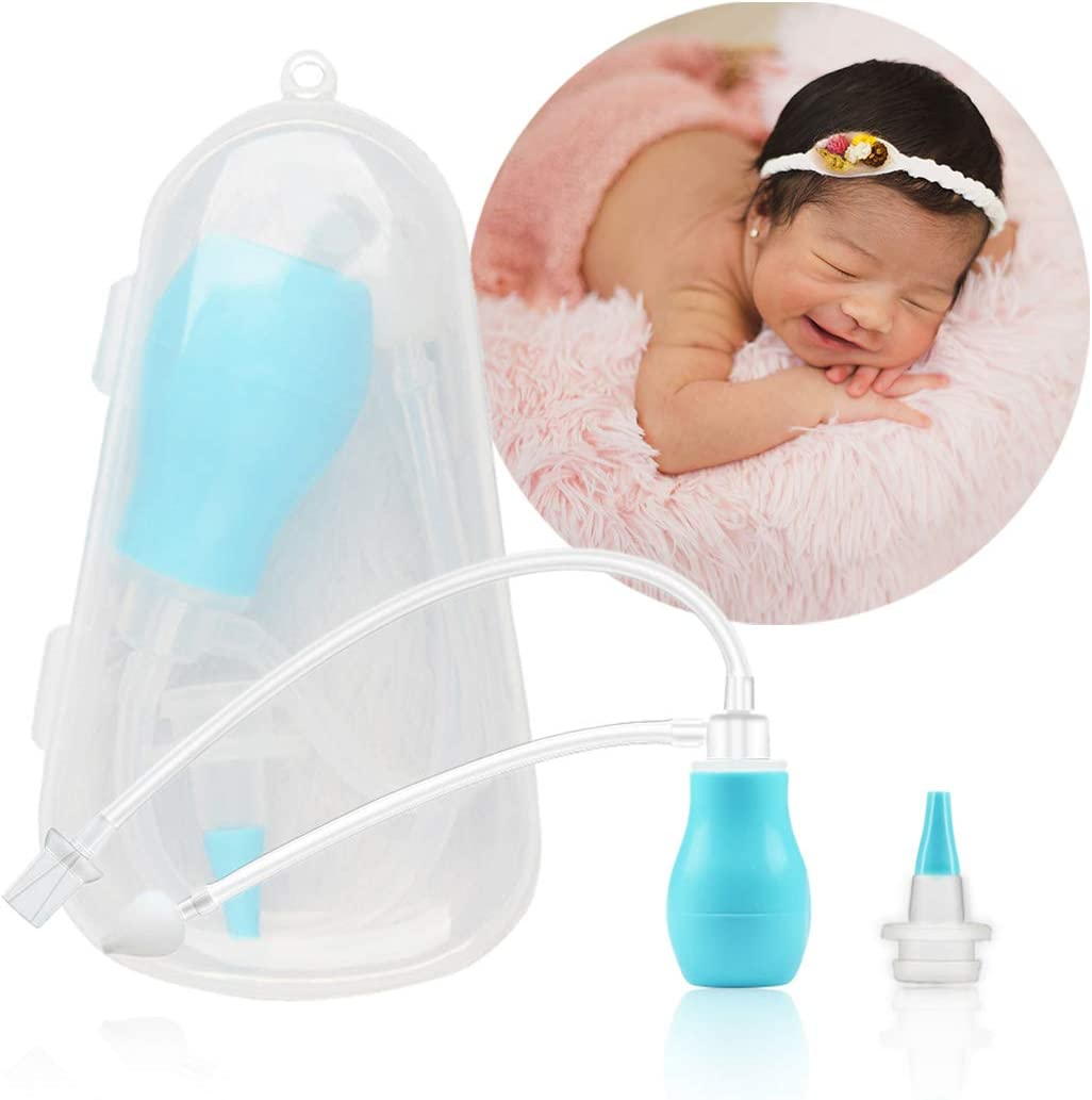 Aspirador Nasal Bebes, Alivio de la Congestión Nasal, Limpiador Manual Para Moco de Nasal Con Caja Higiénica, Reutilizable para Recién Bebes y Ninos, Azul