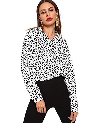 SweatyRocks Women's Chiffon Sexy Leopard V Neck Long Sleeve Blouse Shirt Tops Black and White Small