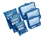 BES CHAN Travel Luggage Organizer Packing Cubes Set Storage Bag Waterproof Laundry Bag Traveling Accessories (6pcs Blue)
