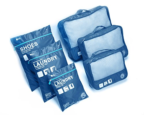 Travel Luggage Organizer Packing Cubes Set Storage Bag Waterproof Laundry Bag Traveling Accessories (6pcs Blue)