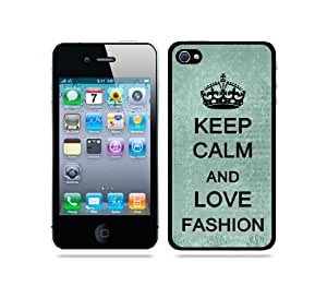 Keep Calm And Love Fashion Teal Floral - Protective Designer BLACK Case - Fits Apple iPhone 4 / 4S / 4G