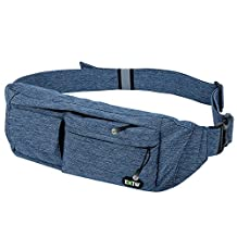Waist Bag Money Belt Pouch EOTW,Fanny Pack Chest Bag With 4 Pockets for Traveling Sports Hiking Holiday Men Women Holder Cell Phone,Passport,Cards,Cash and Other Belongs - Blue