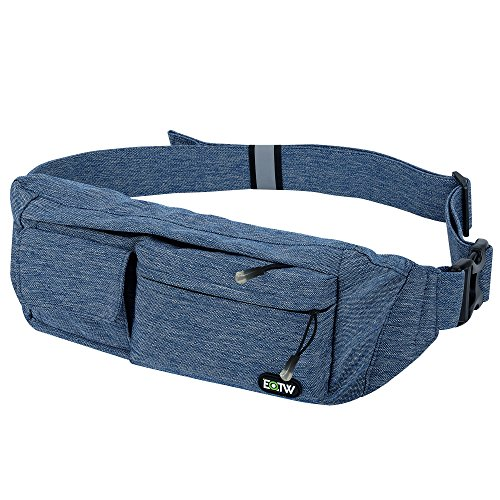 EOTW Waist Pocket Travel Pouch Sports Phone Holder Travel Pocket Fanny Pack Running Belt Waist Pack Money Belt Pocket For iPhone 6 6S Plus 5S, Galaxy S4 S5 S6 S7 Edge, Note 5 4 3, LG G3 G4 G5-Blue (3 Pocket Fanny Pack)