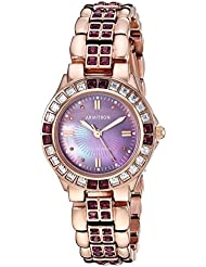 Armitron Womens 75/3689VMRG Amethyst Colored Swarovski Crystal Accented Rose Gold-Tone Watch