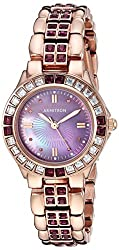 Amethyst Colored Crystal Accented Goldtone Watch