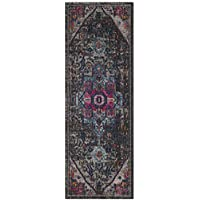 Safavieh Artisan Collection ATN332J Vintage Bohemian Oriental Grey and Fuchsia Distressed Runner (22 x 12)