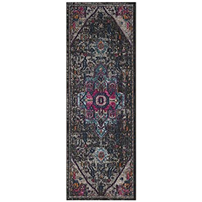 """Safavieh Artisan Collection Runner, 2'2"""" x 12', Grey/Fuchsia - Stunning cotton fibers make this rug soft and luxurious to the touch The power loomed Construction adds durability to this rug, ensuring it will be a favorite for many years This traditional, Vintage rug will give your room an elegant accent - runner-rugs, entryway-furniture-decor, entryway-laundry-room - 51sl1uNDqQL. SS400  -"""