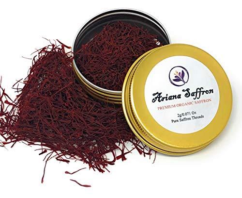 Ariana Saffron Threads Persian Spice - Organic Saffron for your Risotto, Paella, Chicken, Dessert, Persian Tea and Basmati Rice- Persian Super Negin - 1 Small Tin Can- 2g
