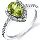 14K White Gold Peridot Open Halo Ring Pear Shape 1.25 Carats Sizes 5 to 9