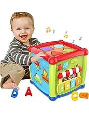 ATCRINICT Baby Toys Early Learning Educatieve Muziek en Kleurrijke Vorm Sorteerder Speelgoed Baby Speelgoed 6 in 1 Activiteit Kubus Speelgoed Verjaardag Chirstmas Gift voor Jongens en Meisjes kinderen en peuter