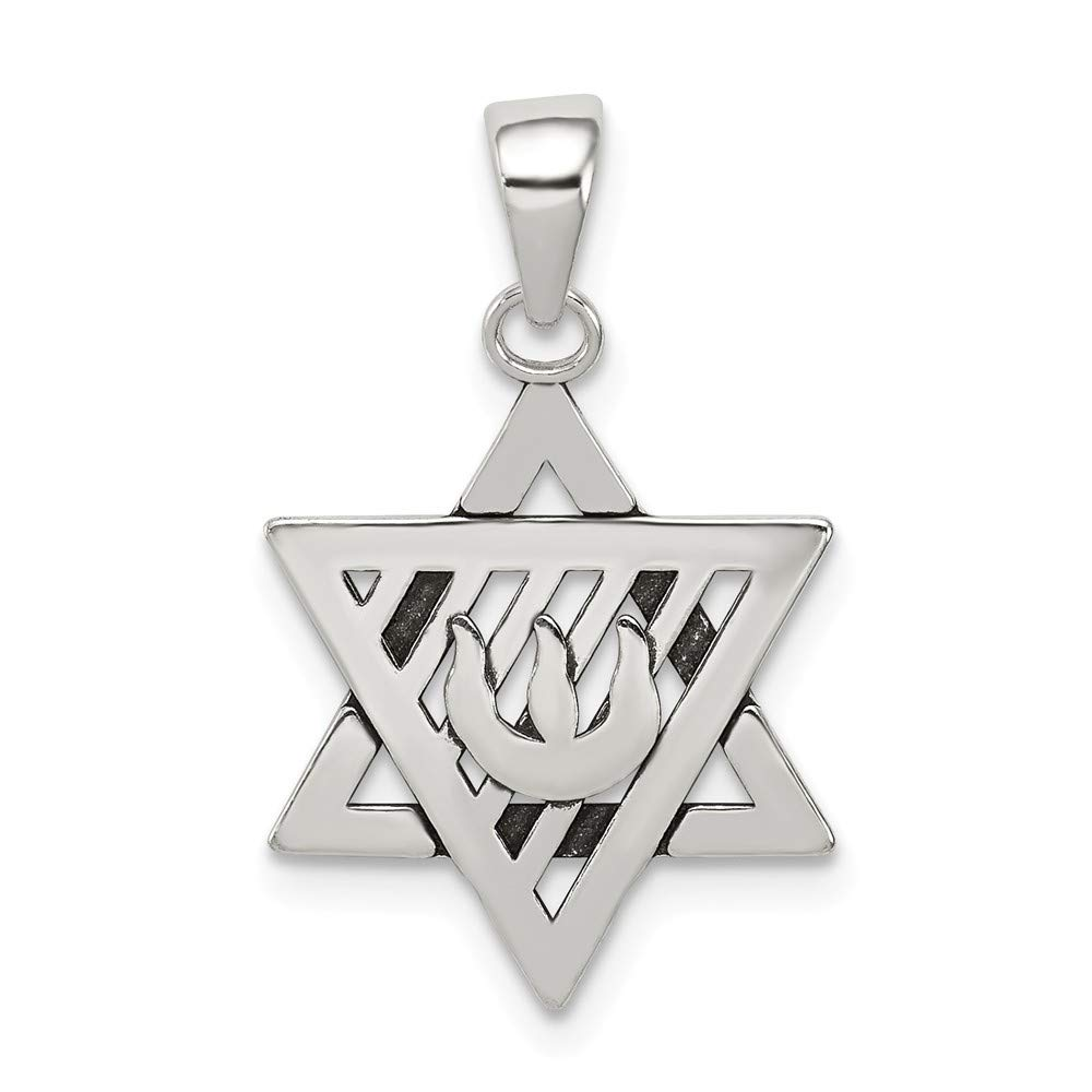 925 Sterling Silver Antiqued Jewish Star of David Charm Pendant