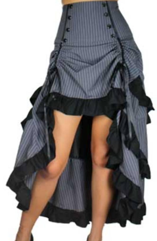 CSDttT -Burlesque Blaze- Gray White Pinstripe Gathered Steampunk Vintage Style Skirt (XS)