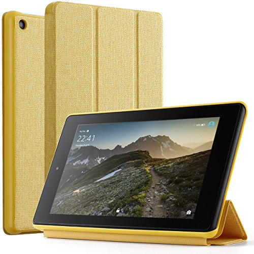 Poetic Slimline case for All-New Amazon Fire HD 8 Tablet (7th and 8th Generation, 2017 and 2018 Release) - Slim-Fit Trifold Cover Stand Folio smart cover Case with Auto Sleep/Wake - Yellow