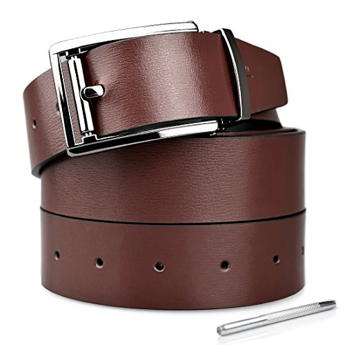 Belts for Men Genuine Reversible Leather Belt With Removable Buckle Width 1.31