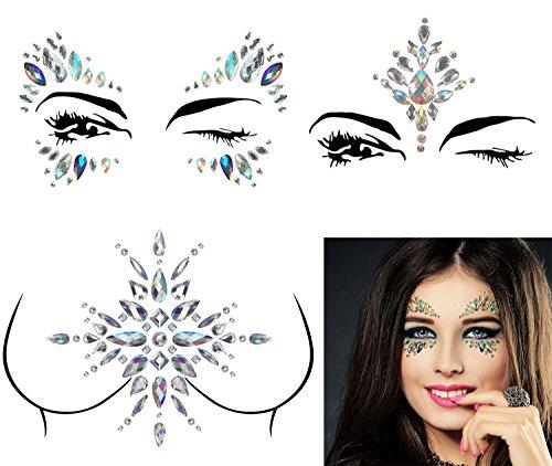 3 Sets Mermaid Face Gems Rhinestone Tattoo Festival Jewels Face Chest Forehead Body Temporary Tattoos Glitter Crystal Tattoos Bindi Breast Chest Body Rhinestone Stickers ()