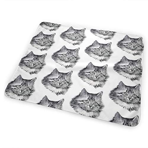 Cat Whimsical White Unisex - Vintage Retro Kitsch Whimsical Black Cats Kittens Monochrome Black White Heads Faces Maine Coon Bed Pad Washable Waterproof Urine Pads for Baby Toddler Children and Adults 31.5 X 25.5 inch