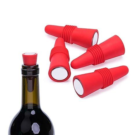 TINGSU - Tapones de silicona reutilizables para botella de vino (juego de 5)