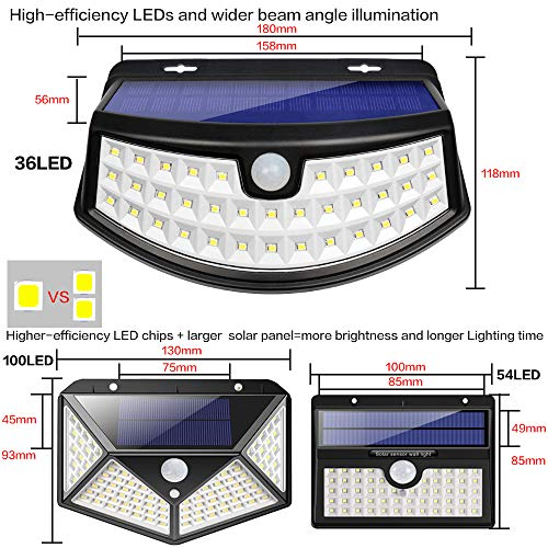 New Solar Lights(4Pack) Upgraded High Efficiency LEDs with 11.8 in² Solar Panel, 3 Optional Modes Sensitive PIR Motion Sensor Light with Wide Angle, IP65 Waterproof Solar Outdoor Security Wall Lights by Aootek (Image #2)