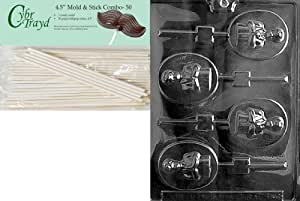 Cybrtrayd Boy Communion Lolly Chocolate Candy Mold with 50 4.5-Inch Lollipop Sticks and Exclusive Chocolate Molding Instructions