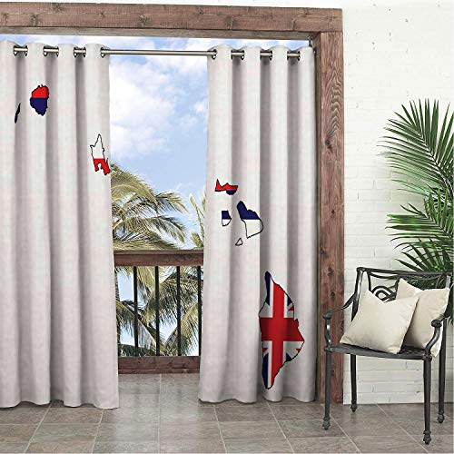 Waterproof Curtains Hawaii Outline Map of The Islands of Hawaii Aloha Union Jack Old Glory Vermilion Indigo and White Porch Grommet Bathroom Curtain 84 by 72 inch ()