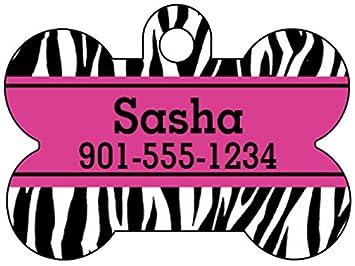 Animal Print Dog Tag Pet Id Personalized W Name Number Zebra